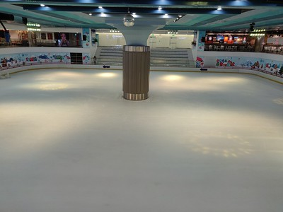 Brand new and so far empty ice-skating rink in the Vinhomes Central Park/Landmark 81 complex, Ho Chi Minh City, Vietnam, May, 2019.