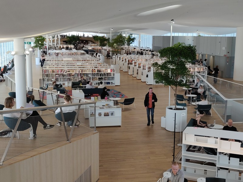 Oodi, the central public library in Helsinki, Finland.