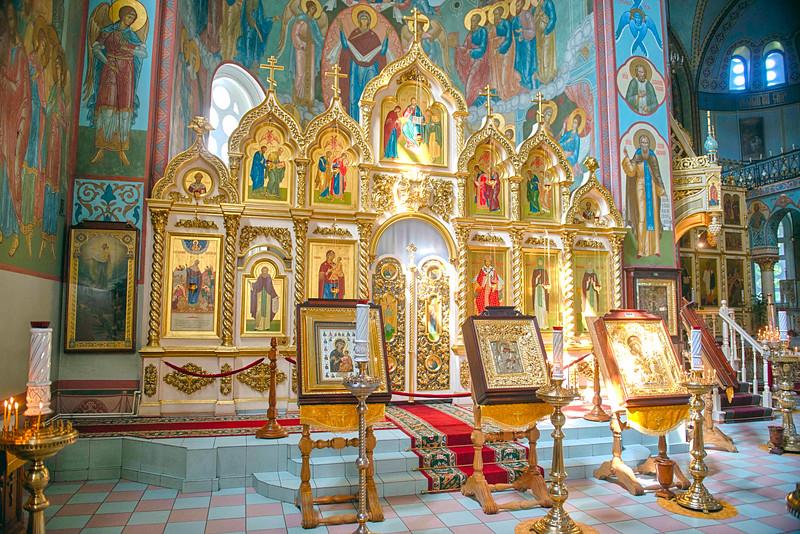 Iconostasis at Riga Nativity of Christ Orthodox Cathedral, Riga, Latvia.