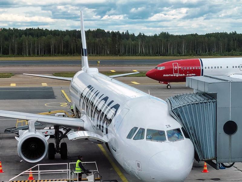 Finnair Flight at Helsinki Vantaa Airport
