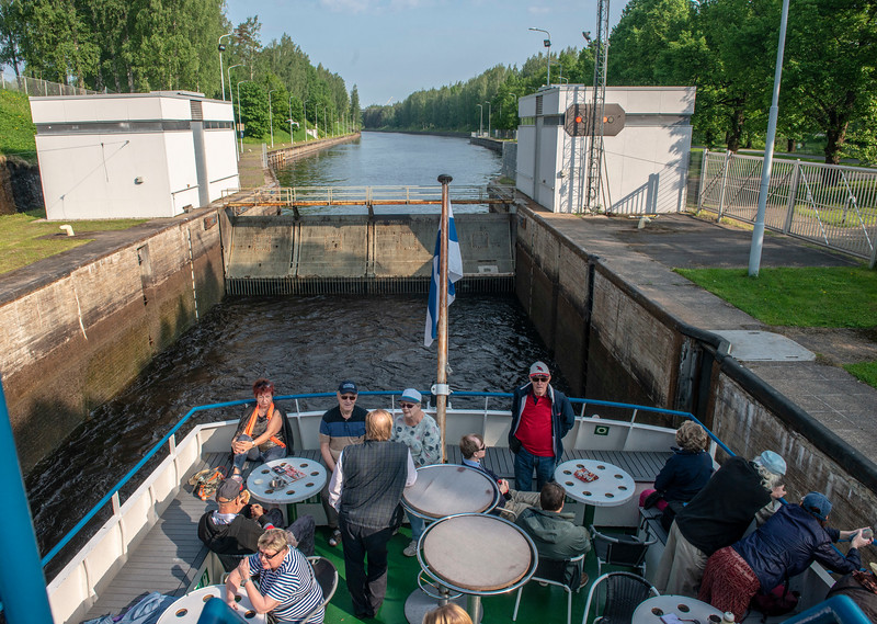 A lock along the Saimaa Canal between Finland and Russia.