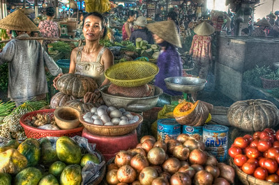 HDR from the morning market on the docks alongside the fish market at the emerging tourist magnet of Hội An, on the central coast near Da Nang and Hue.