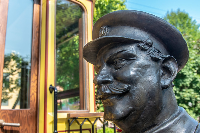 Statue at the Trolley Café, Vyborg, Russia.