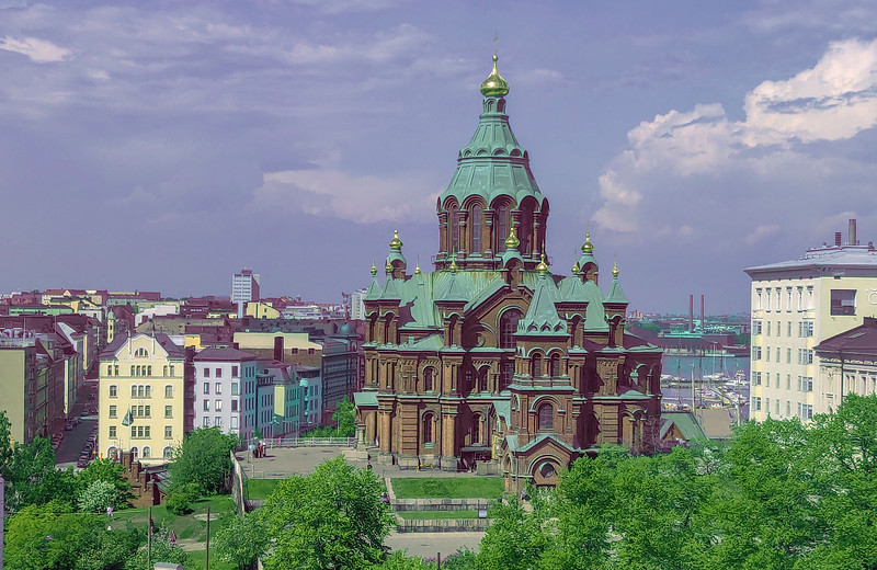 The Uspenski Cathedral, the largest orthodox church in Western Europe, completed in 1868. Helsinki, FInland