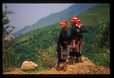 Hill tribe girls on the road to Sa Pa, Vietnam.