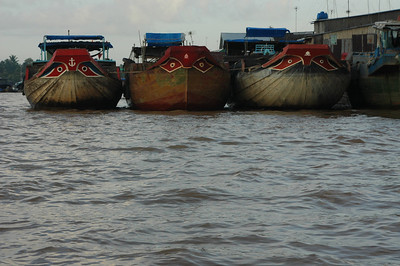 Three boats in the Mekong delta, Vietnam.