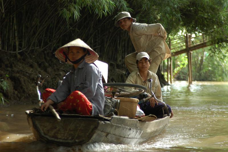 River traffic, Mekong tributary, Mekong delta, Vietnam.
