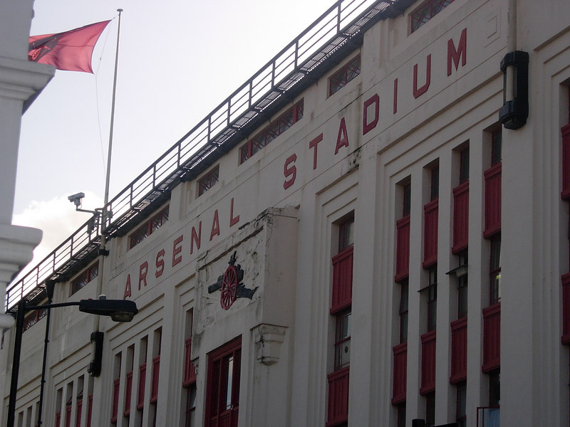 Famous facade of Highbury, home of the Arsenal, in North London