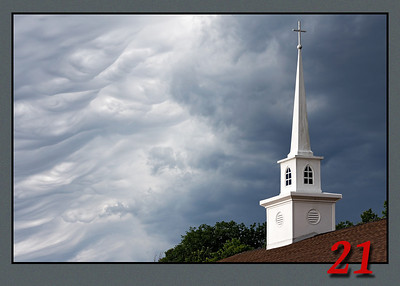 Church Steeple with Storm