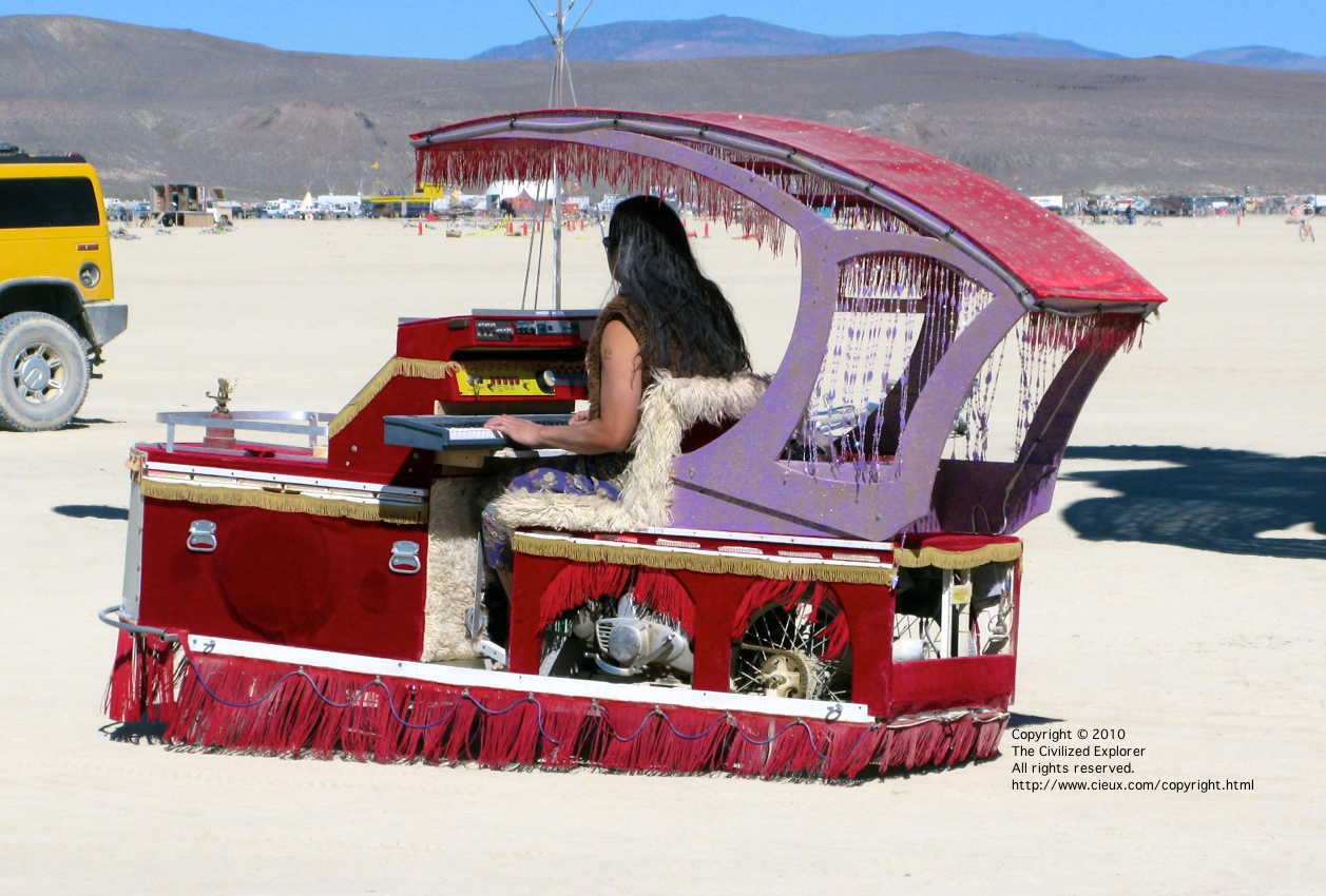This gentleman drove around the playa playing his keyboard.