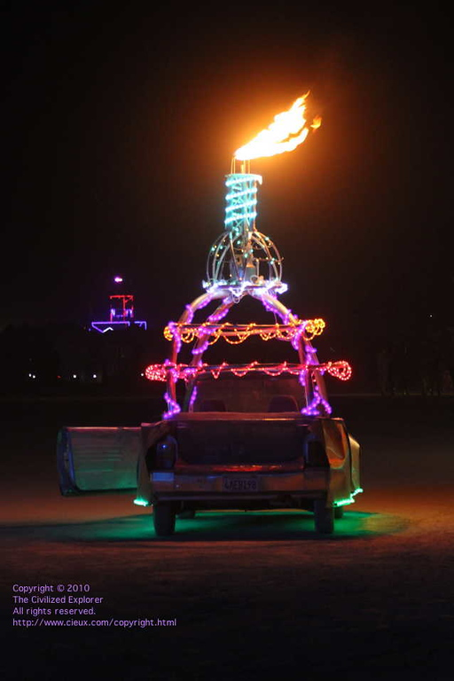Many of the art cars are made for the night.