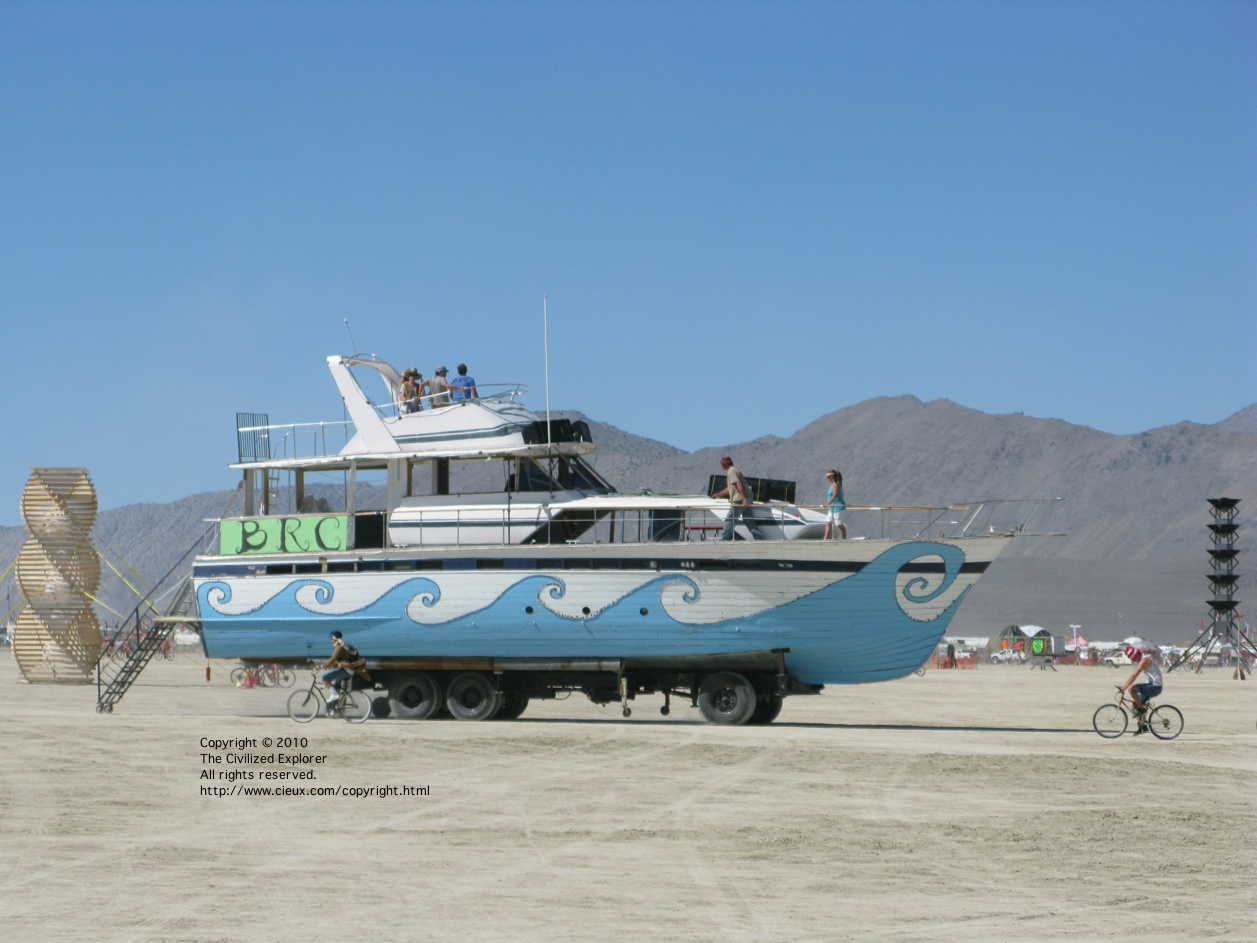 The huge ship ventures out upon the playa.
