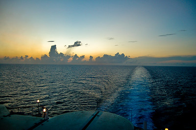Sunset from Disney Cruise leaving Florida