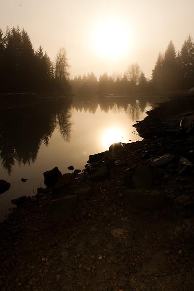 """""""Mendenhall River in Fog""""<br /> Juneau, Alaska"""