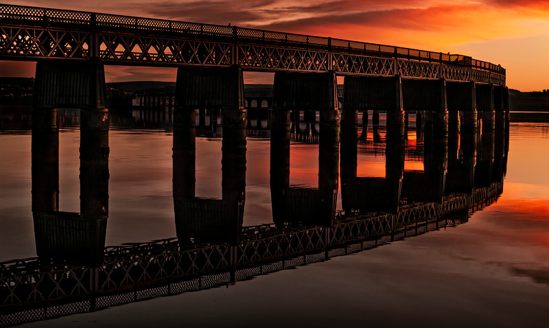 Tay Rail Bridge Sunset from Dundee