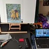 Art behind glass to keep it flat.  Camera tethered via USB to laptop that is running Canon EOS Utility to control the camera from the laptop.  This makes Live View a lot easier to control.  Art behind glass needs manual focus.  Manual focus at 10x on a laptop screen is easier than manual focus on the camera LCD.
