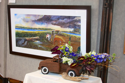 "Art In Bloom  Natalie Caramello  Plymouth Garden Club Art Work  ""Rustification on the Cape"" Artist  Dominic Farrell"
