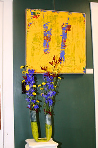 "Art In Bloom Geri Williams  Plymouth Garden Club Art Work  ""The Lecture""  Artist  Bruno Teesteeg"