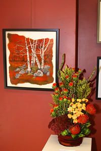 "Art In Bloom  Judy Sheehy Aptucxet Garden Club Art Work  ""Autumn Birches"" Artist  Muffy Kashkin grollier"