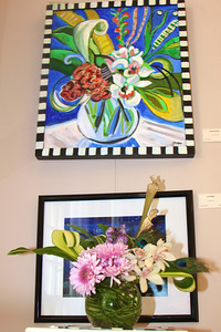 "Art In Bloom  Joanne Mueller  Plymouth Garden Club Art Work  ""Arrangement"" Artist  Gretchen Moran"