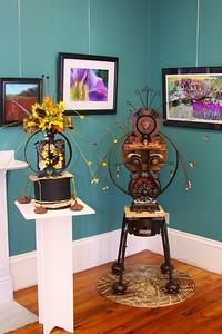"Art In Bloom  Jean Dobachesky  Plymouth Garden Club Art Work  ""A Visiting Guru"" Artist   Bouldin G. Burbank"