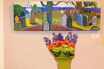 "Art In Bloom  Judy MacDonald  Plymouth Garden Club Art Work  ""Ocean View"" Artist Gretchen Moran"
