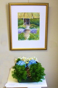 "Art In Bloom  Rose Howard  Plymouth Garden Club Art Work  ""Privacy Hedge"" Artist  Susan Slowey"