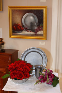 Art In Bloom  Shiela Sadler Plymouth Garden Club Art Work  Pewter and Apples Artist  Carole Raymond