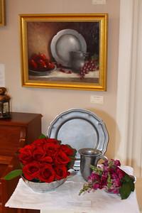 Art In Bloom  Shiela Sadler Plymouth Garden Club Art Work  Pewter and Apples Artist  Carole Raymond