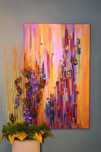 "Art In Bloom  June Aronson  Plymouth Garden Club   Winner of Popular Vote  Art Work  ""Dandelion Dreaming"" Artist  Mechelle Adams"