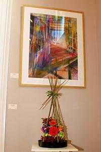 """Art In Bloom Colettal Candini   Plymouth Garden Club Art Work  """"Under Construction"""" Artist  Wendy Hale"""