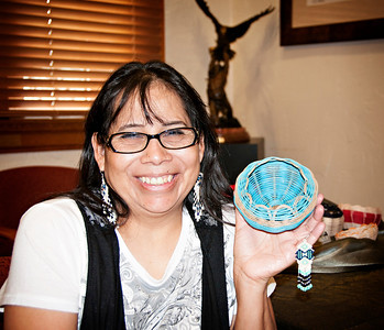 Theresa Prough of Durant. Skilled in beadwork, pottery, basket weaving and moccasin making.