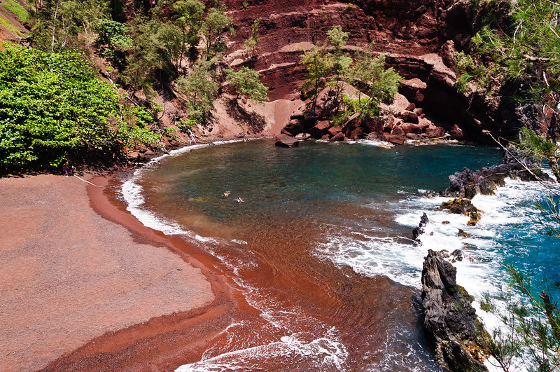 A red sand beach in Hana