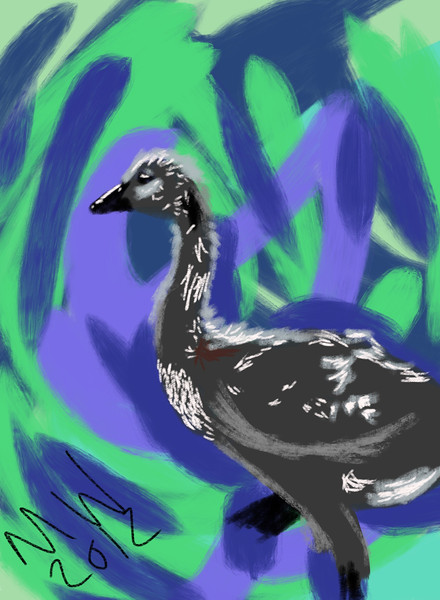 iPad drawing of a gosling.