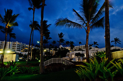 The Fairmont Wailea from the beach at night