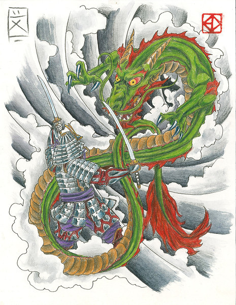 "Samurai vs. Dragon<br /> <br /> 8.5"" x 11"" Print on heavy cardstock in clear impact bag available at:<br /> <br /> <a href=""http://www.eddempseytattoo.com/artwork.htm"">http://www.eddempseytattoo.com/artwork.htm</a><br /> <br /> $20 includes shipping"