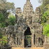 ENTRANCE TO ANGKOR THOM, ancient city of smiling faces.