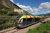 Fig 13.14 / Photo of a modern train <br /> <br /> Choice 9 of 12<br /> <br /> Vinschgerbahn Meran-Mals, hier bei Kastelbell, Südtirol, Italien (Newscom TagID: dpacreative039266) [Photo via Newscom]