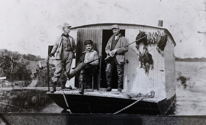 "Old ""Floating Shanty"" thanks to Carl Zimmerman for the image. I do not know who the photographer was for sure, but from the quality of the print it was a professional..... possibly Aubrey Bodine of the Baltimore Sunpaper who photographed several times at Assateague Island. The shantys were often incorporated as part of land based gunning clubs as at ""Green Run"" and ""High Winds."""