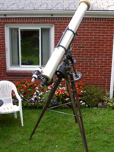 Final assembly 6 inch f-15 Jaegers refractor on Equatorial mount and tripod.