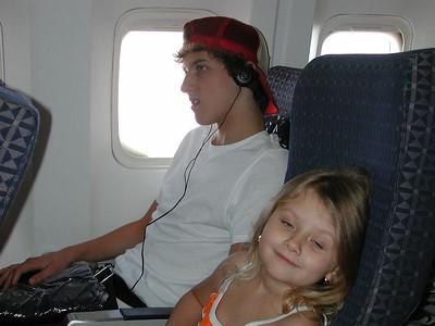 On the plane to Santo Domingo in the Dominican Republic.