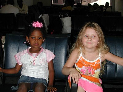 Stormie played with this little girl named Maria, at the airport before boarding our plane to Santa Domingo.