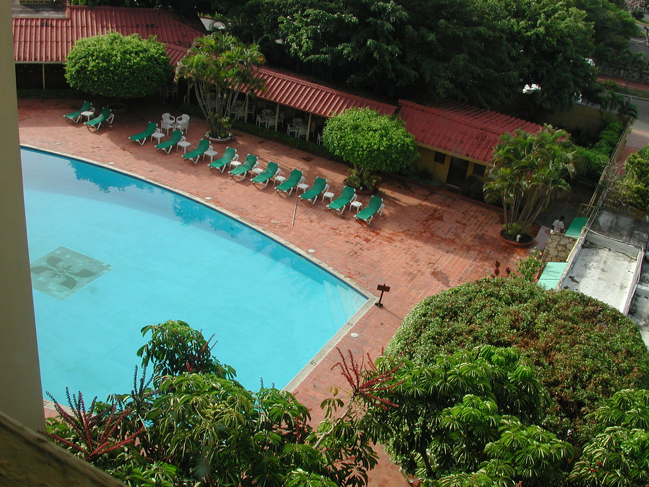 Here is a picture of the hotel pool from the 4th floor lobby.