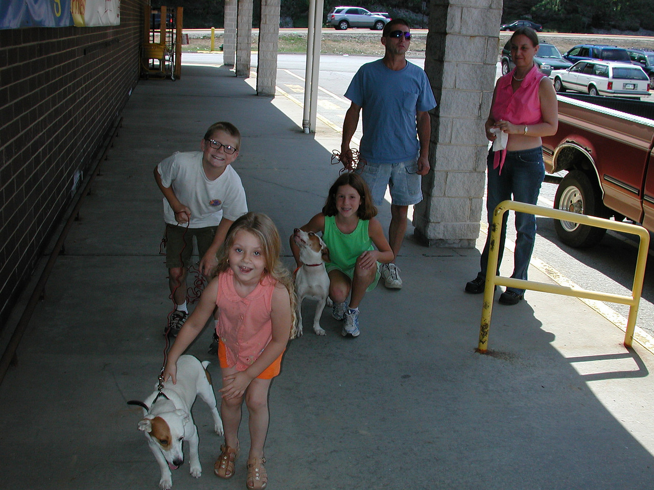 We leave our dogs, Cannonball and Snowball with friends. In this picture we met at a Giant Eagle in Murrysville to say goodbye to our animals for the trip.