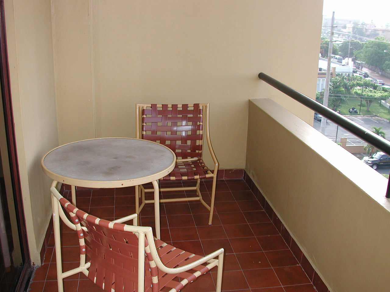 Nice table and chair for two on the balcony of our room.