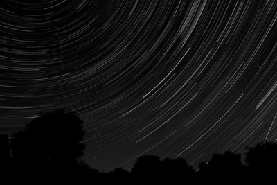 Star trails with Perseid meteors August 2013