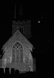 St Mary's Chesham with new moon, Venus and Jupiter