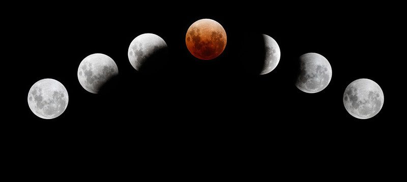 A sequence of the Total Lunar Eclipse of 31 January 2018, taken from our back balcony