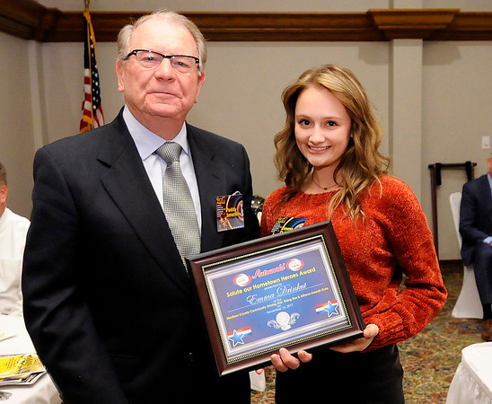 Don Knight |  The Herald Bulletin<br /> Emma Drinkut received the Salute Our Hometown Heroes scholarship for the fire department.