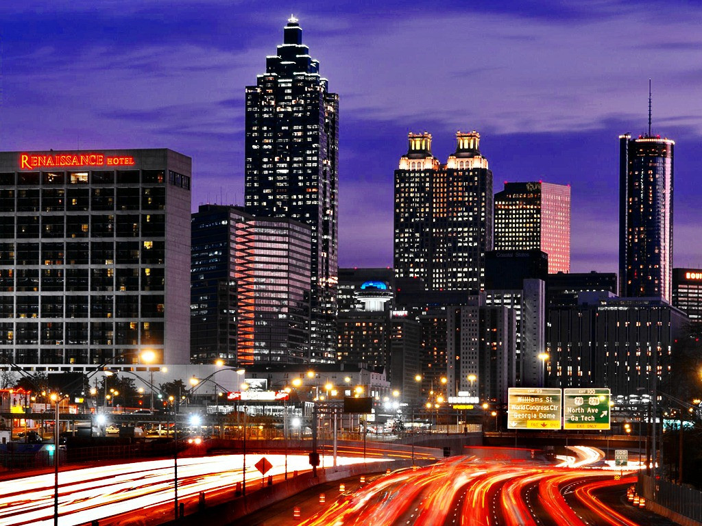 Atlanta,Georgia,downtown skyline,dusk,traffic